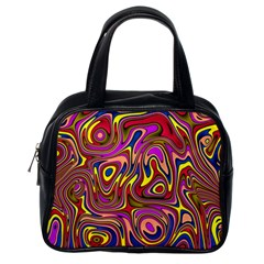Abstract Shimmering Multicolor Swirly Classic Handbags (One Side)