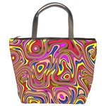 Abstract Shimmering Multicolor Swirly Bucket Bags