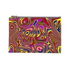 Abstract Shimmering Multicolor Swirly Cosmetic Bag (Large)