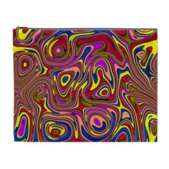 Abstract Shimmering Multicolor Swirly Cosmetic Bag (XL)