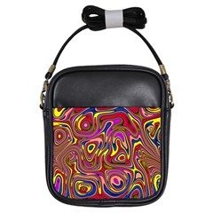 Abstract Shimmering Multicolor Swirly Girls Sling Bags