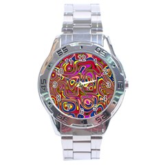 Abstract Shimmering Multicolor Swirly Stainless Steel Analogue Watch