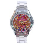 Abstract Shimmering Multicolor Swirly Stainless Steel Analogue Watch Front
