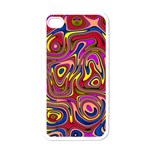 Abstract Shimmering Multicolor Swirly Apple iPhone 4 Case (White)