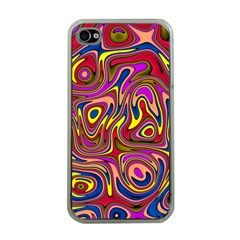Abstract Shimmering Multicolor Swirly Apple iPhone 4 Case (Clear)