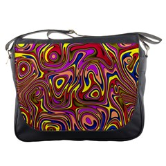 Abstract Shimmering Multicolor Swirly Messenger Bags