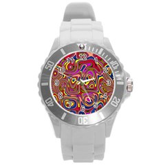 Abstract Shimmering Multicolor Swirly Round Plastic Sport Watch (l)