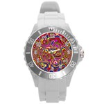 Abstract Shimmering Multicolor Swirly Round Plastic Sport Watch (L) Front