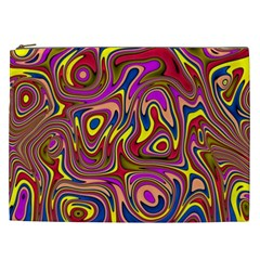 Abstract Shimmering Multicolor Swirly Cosmetic Bag (xxl)  by designworld65