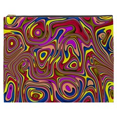 Abstract Shimmering Multicolor Swirly Cosmetic Bag (xxxl)  by designworld65