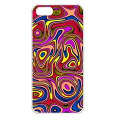 Abstract Shimmering Multicolor Swirly Apple iPhone 5 Seamless Case (White)