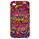 Abstract Shimmering Multicolor Swirly Apple iPhone 4/4S Hardshell Case (PC+Silicone)