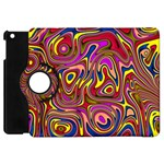 Abstract Shimmering Multicolor Swirly Apple iPad Mini Flip 360 Case Front