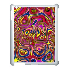 Abstract Shimmering Multicolor Swirly Apple iPad 3/4 Case (White)