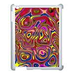 Abstract Shimmering Multicolor Swirly Apple iPad 3/4 Case (White) Front