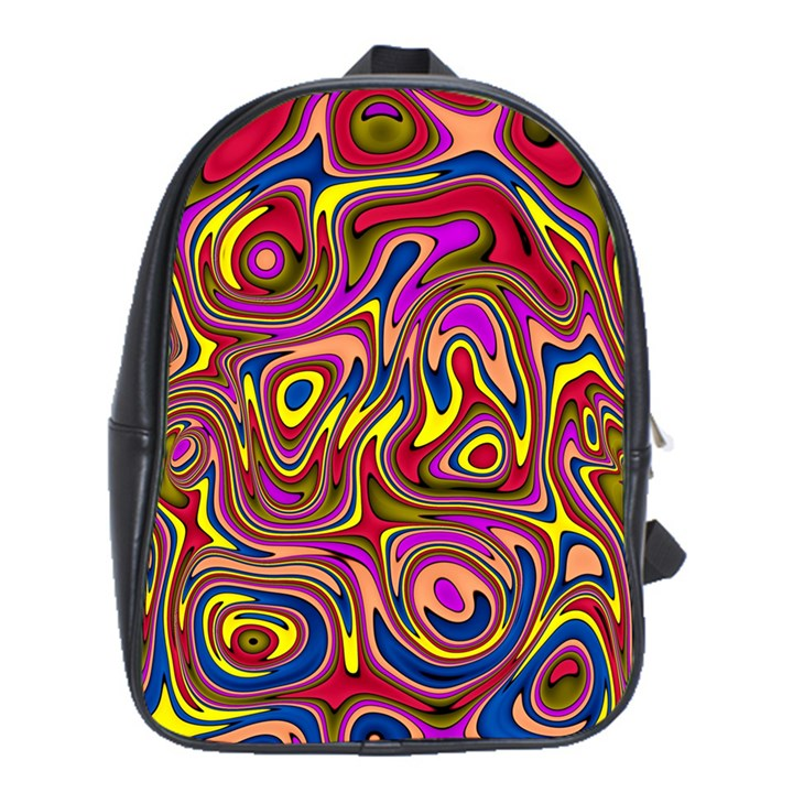 Abstract Shimmering Multicolor Swirly School Bags (XL)