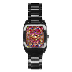 Abstract Shimmering Multicolor Swirly Stainless Steel Barrel Watch by designworld65