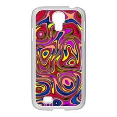 Abstract Shimmering Multicolor Swirly Samsung GALAXY S4 I9500/ I9505 Case (White)