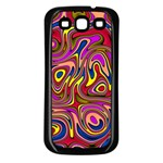 Abstract Shimmering Multicolor Swirly Samsung Galaxy S3 Back Case (Black) Front
