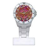 Abstract Shimmering Multicolor Swirly Plastic Nurses Watch
