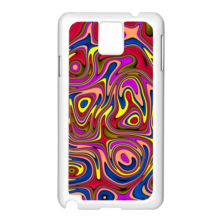 Abstract Shimmering Multicolor Swirly Samsung Galaxy Note 3 N9005 Case (White)