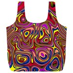 Abstract Shimmering Multicolor Swirly Full Print Recycle Bags (L)  Back