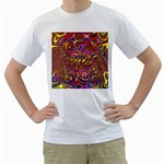Abstract Shimmering Multicolor Swirly Men s T-Shirt (White)  Front