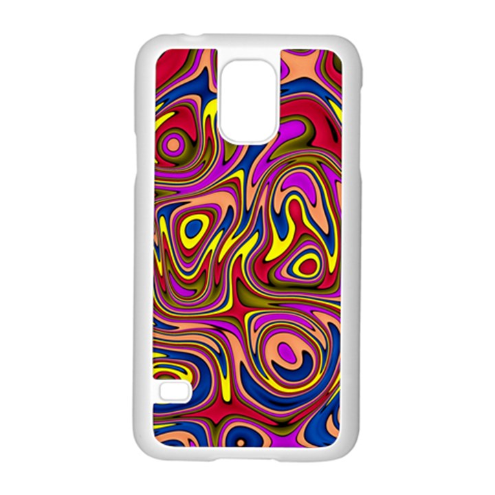 Abstract Shimmering Multicolor Swirly Samsung Galaxy S5 Case (White)