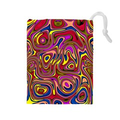 Abstract Shimmering Multicolor Swirly Drawstring Pouches (Large)