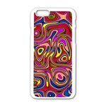 Abstract Shimmering Multicolor Swirly Apple iPhone 6/6S White Enamel Case Front