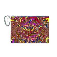 Abstract Shimmering Multicolor Swirly Canvas Cosmetic Bag (m) by designworld65