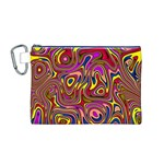 Abstract Shimmering Multicolor Swirly Canvas Cosmetic Bag (M)