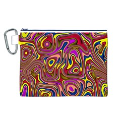Abstract Shimmering Multicolor Swirly Canvas Cosmetic Bag (l) by designworld65