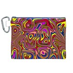 Abstract Shimmering Multicolor Swirly Canvas Cosmetic Bag (XL)