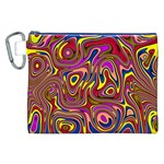 Abstract Shimmering Multicolor Swirly Canvas Cosmetic Bag (XXL)