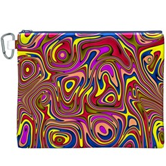 Abstract Shimmering Multicolor Swirly Canvas Cosmetic Bag (xxxl) by designworld65