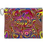 Abstract Shimmering Multicolor Swirly Canvas Cosmetic Bag (XXXL)