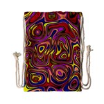 Abstract Shimmering Multicolor Swirly Drawstring Bag (Small) Front