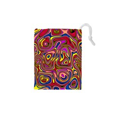 Abstract Shimmering Multicolor Swirly Drawstring Pouches (XS)