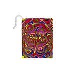 Abstract Shimmering Multicolor Swirly Drawstring Pouches (XS)  Back