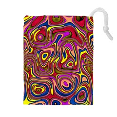 Abstract Shimmering Multicolor Swirly Drawstring Pouches (Extra Large)