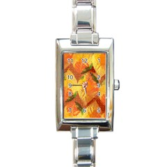 Fall Colors Leaves Pattern Rectangle Italian Charm Watch
