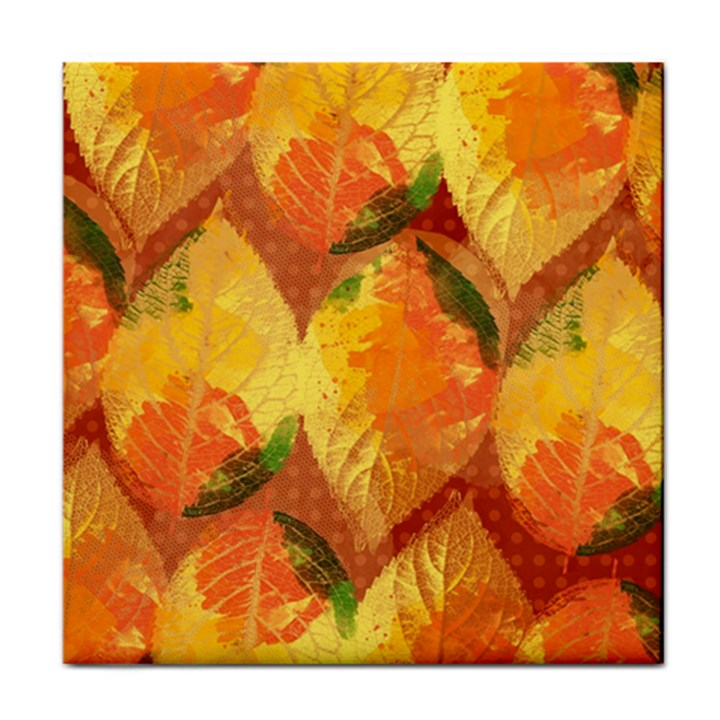 Fall Colors Leaves Pattern Tile Coasters