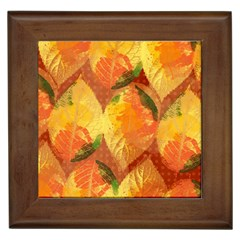 Fall Colors Leaves Pattern Framed Tiles by DanaeStudio