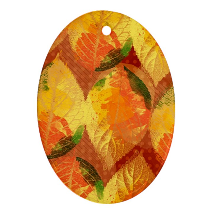 Fall Colors Leaves Pattern Ornament (Oval)