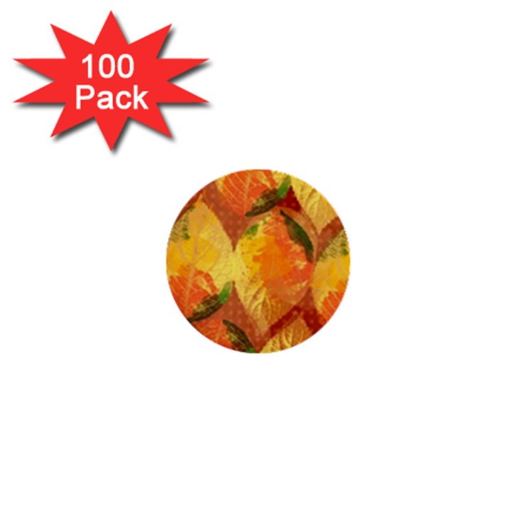 Fall Colors Leaves Pattern 1  Mini Buttons (100 pack)