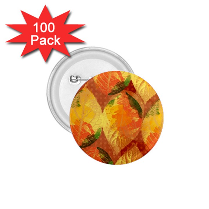Fall Colors Leaves Pattern 1.75  Buttons (100 pack)