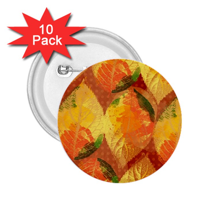 Fall Colors Leaves Pattern 2.25  Buttons (10 pack)