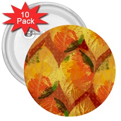 Fall Colors Leaves Pattern 3  Buttons (10 Pack)