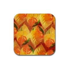 Fall Colors Leaves Pattern Rubber Square Coaster (4 Pack)